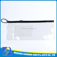 2015 factory custom hot sale pvc clear plastic pencil case with zipper