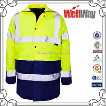 Police winter long sleeve high hi vis 3M reflective tape security jacket