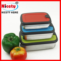The queen of quality fashionable patterns stainless steel korean crisper with silicon lid