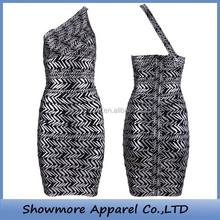 Style Number A009 pattern one shoulder cocktail dress