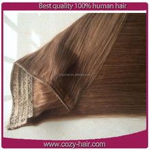 Wholesale unprocessed Peruvian hair halo hair/fish wire hair extensions