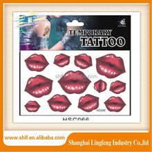 Shanghai red lip for body temporary tattoo stickers