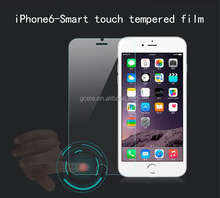 "Hot selling Smart Touch 9H 2.5D tempered glass film for iphone6 4.7"" smart screen protector Virtual key --with back and menu key"