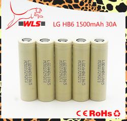 LG HB6 E-Cigarettes 18650 battery 3.7v li-ion Max. continuous discharge 30A battery 1500mAh led flashlight battery lg 18650