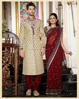 Gold pure Banarasi Silk Anghrakha Style Sherwanis R3475