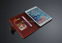 2015 New Book Style Crazy Horse Lines Leather Wallet Case Stand Cover with Card Slots for ipad mini 4