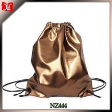 Gold Unlined lambskin leather backpack with drawstring closure rucksack Leder Kordelzug Rucksack