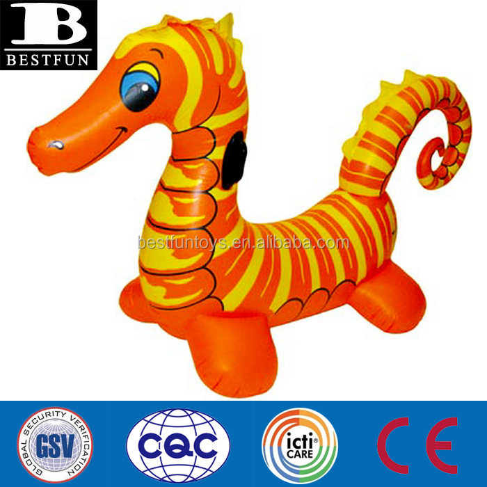 product detail promotional custom inflatable kids large seahorse float swimming pool raft toy jumbo rider