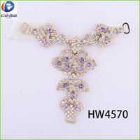 HW4570 renqing shoe collection diamante white wedding flip flops beautiful T chains