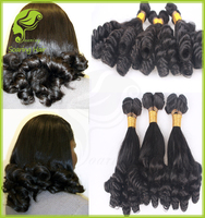 4pcs Aunty Funmi Hair bouncy curl for UK & Nigeria natural color double drawn virgin hair 100g for each piece