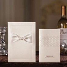 EYIC08 Classical white ribbon wedding invitation card