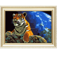 2015 new arrival animal oil painting of tiger looked up at the stars for home decor