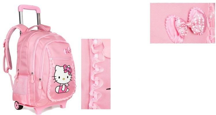 7e604c640ec6 Hello Kitty Children School Bags Mochilas Kids Backpacks With Wheel ...