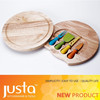 New Design 4pcs Cheese Tools Set with Wooden Cutting Board