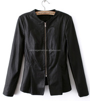 long fall leather jacket for women