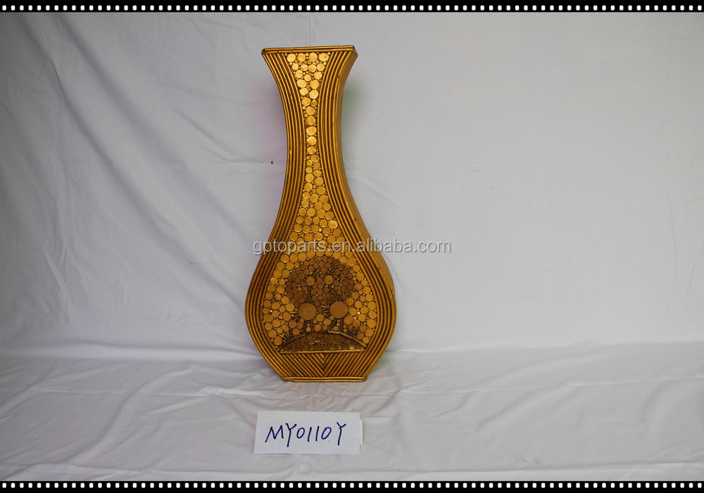 80cm Coarse Rattan Vase French Woven Pattern Bottle Wood Flower