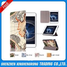 For iPad Mini 4 Leather Case, Retro Map Folio Leather Case for Ipad Mini 4