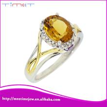 Yellow crystal romantic female silver white gold female diamond ring design