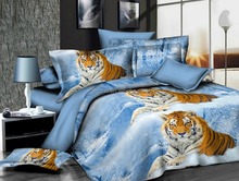 3d 4pcs snow tiger frozen silk cotton handmade printed quilt cover disposable bed sheet