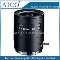 cn aico 2015 new product megapixel f1.4 1/3 inch 2.8-12mm motorized lens cs