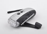 Hand crank 3 led portable rechargeable dynamo flashlight radio