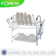 Multi-Function Two-tier Plate Rack with Utensil Holder