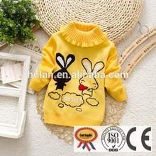 2015 venta caliente de alta del cuello unisex el diseño de conejo baby suéter de lana