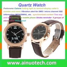 stainless steel luxury smart quartz watch for men pedometer/vibration/calorie/bluetooth synchro waterproof quartz wrist watch