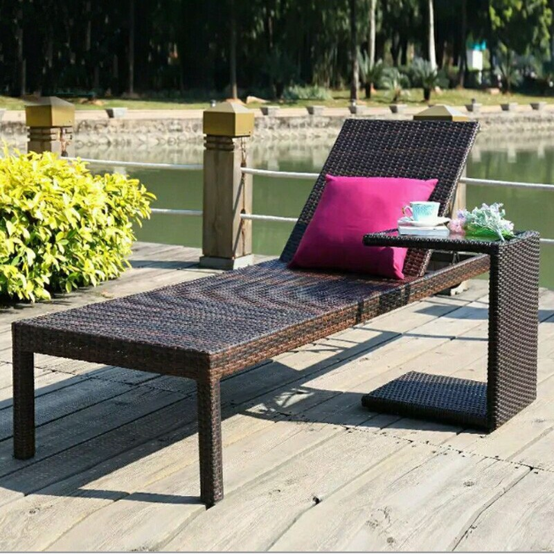 Portable Luxury Foldable Oudoor Swimming Poolside Beach Brown Synthetic PE Plastic Wicker Rattan Sun Lounger