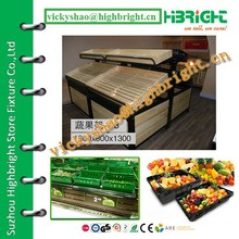 two tiered wood display stand/display rack for imported fruits