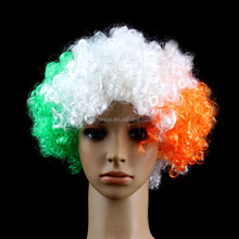 2015 Hot sale best price Ireland football fan afro short wigs for men