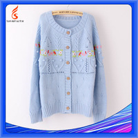 Ladies Handmade Knitting Sweaters Hand Knitted Girls College Style Embroidered Cardigan