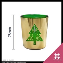 Christmas tree art empty gold candle jars