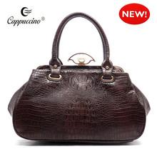 cappuccino imitación de cocodrilo en relieve de bolos de oficina estilo empujar el bloqueo de la mujer satchel bolso de mano