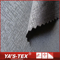 China supplier luxury black silver embossed dyed woven polyester lycra fabric for fashion dress