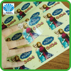High quality clear cartoon label,kids label,animation label printing label
