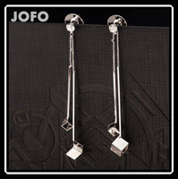 2015 New Coming Nice Design Rhodium/Real Gold Plated Long Tassel Square Earrings Unique Fashion France Jewellery