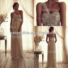 BO2224 Wholesale Crystals One Shoulder A-Line Fitted Elegant Bow on back Wedding Dress