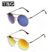 2013 fashion metal round sunglasses top selling women mirror sunglasses eyeglasses