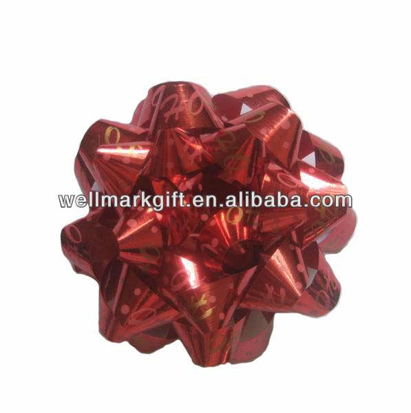 "HOT SALE! 5"" Blue Printing Snowflake Christmas Gift Ribbon Star Bow"