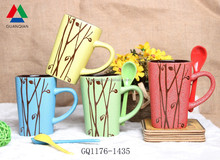 Factory direct four color mug set crinkle glaze ceramic mug with spoon