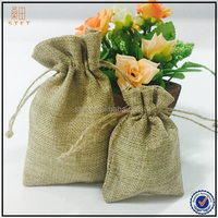 2015 Customized Personalized Small Drawstring Jute Bags/ Burlap Gift Bags 9*13cm