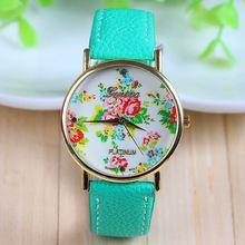 New Arrival Hot Selling Mint Green Leather Flower Watch Rose Geneva Watch Flower Women Dress Watch 1piece/lot AW-SB-736