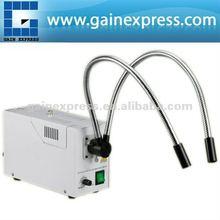 GX-301 ajustable de doble tubo de cuello de cisne de fibra óptica iluminador de microscopio