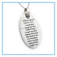 2015 hot selling What Cancer Cannot Do fashion stainless steel Pendant