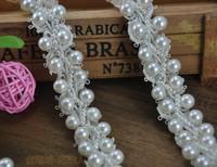 bride handmade pearl rhinestone lace trimming flower head wear hair accessories wedding decoration