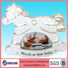 Horse shape ceramic funny photo frame for kids