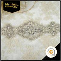 Wholesale fashion designs decorative rhinestone bridal applique work design rhinestone appliques for dress