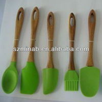 wood handle silicone head kitchen utensil