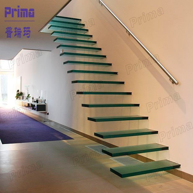 Gentil Modern Laminated Glass DIY Floating Stairs With Stainless Steel Wall  Handrail ...